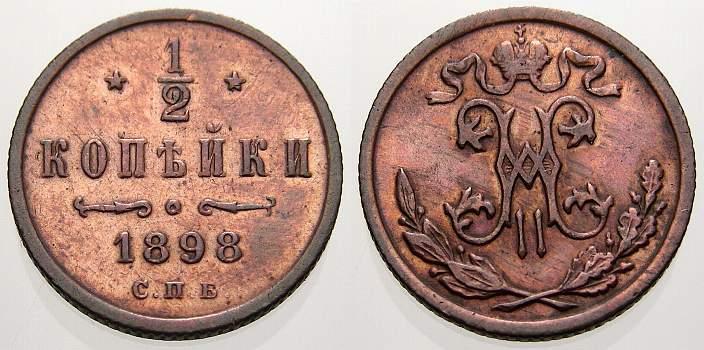 1/2 Kopeke 1898 Russland Zar Nikolaus II. 1894-1917. Vorzüglich-stempelglanz