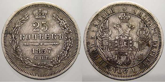 25 Kopeken 1857 Russland Zar Alexander II. 1855-1881. Sehr schön+