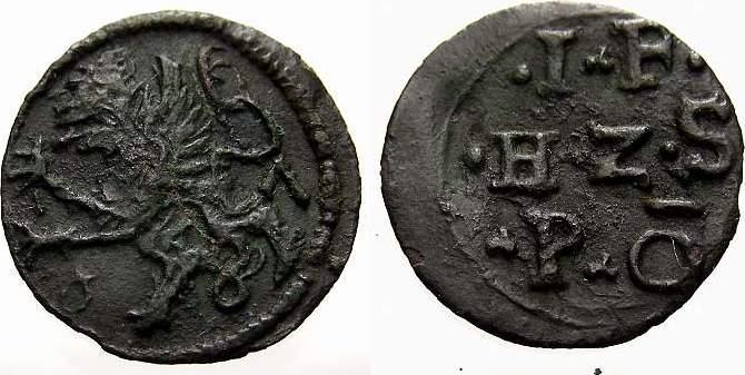 Kupfer Scherf 1587 Pommern-Stettin Johann Friedrich 1569-1600. Seltene Variante. Sehr schön+