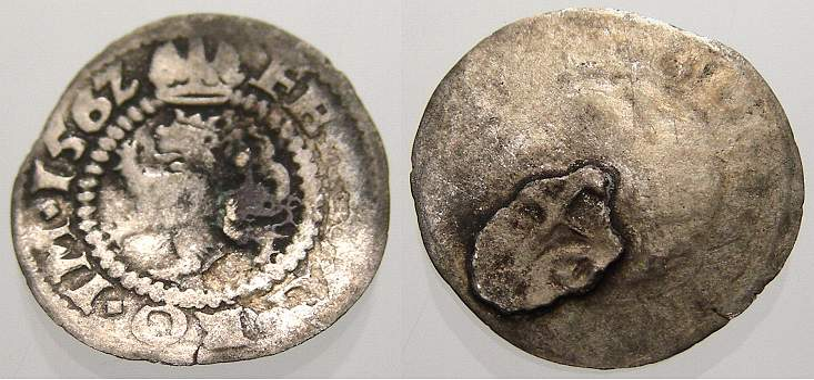 Weißpfennig 1 1562 Böhmen Ferdinand I. 1527-1564. Sehr schön