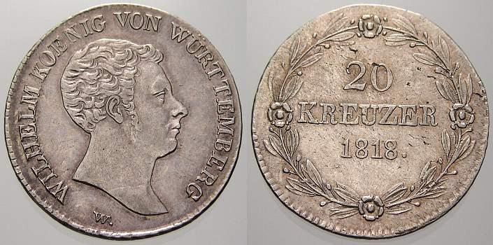 20 Kreuzer 1818 Württemberg Wilhelm I. 1816-1864. Vorzügliches Prachtexemplar