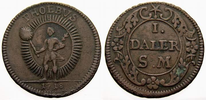 1 Daler Silvermynt 1718 Schweden Karl XII. 1697-1718. Sehr schön+