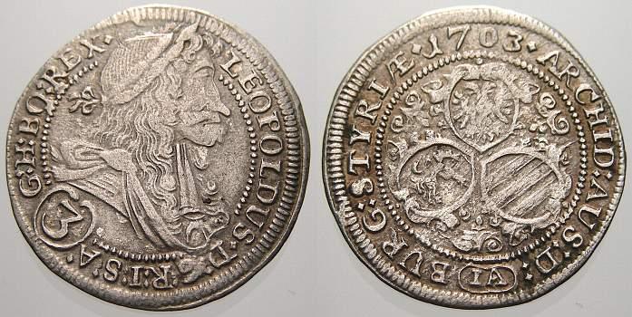 3 Kreuzer (Groschen) 1703 IA Haus Habsburg Leopold I. 1658-1705. Sehr schön+
