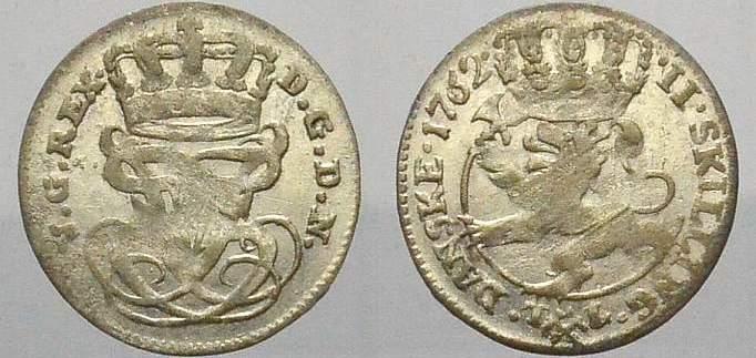 2 Skilling 1762 Norwegen Friedrich V. 1746-1766. Sehr schön