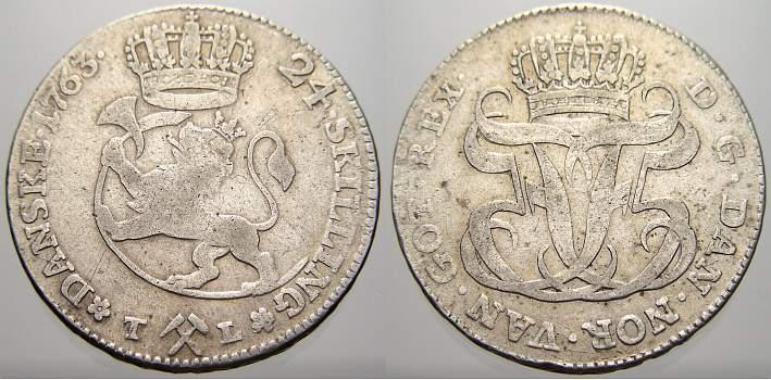 24 Skilling 1763 T Norwegen Friedrich V. 1746-1766. Selten. Sehr schön