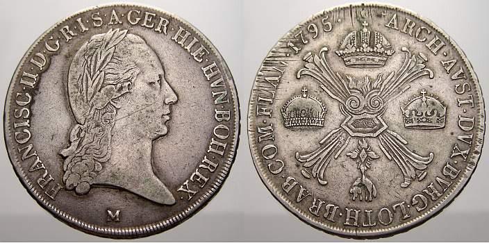 Kronentaler 1795 M Haus Habsburg Franz II. (I.) 1792-1835. Leicht justiert, sehr schön
