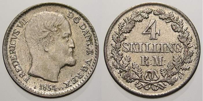 4 Skilling 1854 Dänemark Frederik VII. 1848-1863. vorzüglich