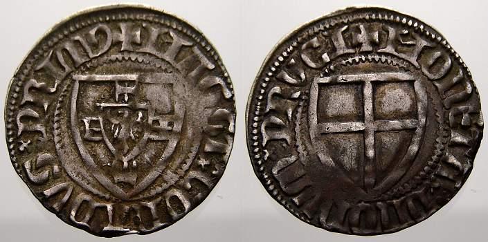 Schilling 1382-1390 Deutscher Orden Conrad Zöllner von Rothenstein 1382-1390. Von größter Seltenheit. Sehr schön-Vorzüglich