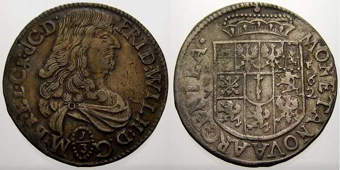 1/3 Taler 1672 GF Brandenburg-Preußen Friedrich Wilhelm, der Große Kurfürst 1640-1688. Sehr schön+ mit schöner Patina!