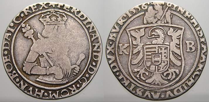 1/4 Taler 1556 Haus Habsburg Ferdinand I. 1522-1558-1564. Selten. Aus der Fassung rausgenommen, schön-sehr schön