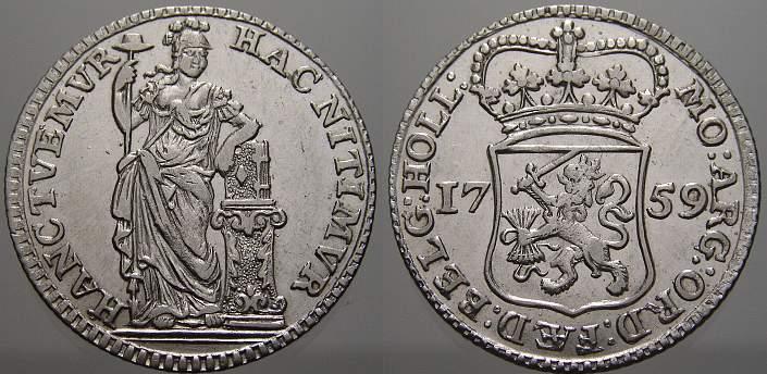1/4 Gulden 1759 Niederlande-Holland, Provinz Fast vorzüglich