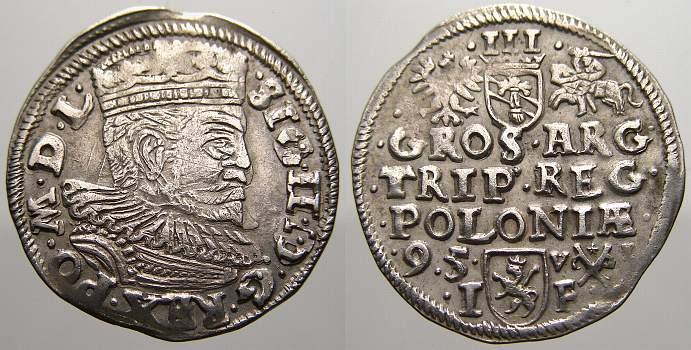 3 Gröscher 1 1595 I Polen Sigismund III. 1587-1632. Selten. Fast vorzüglich