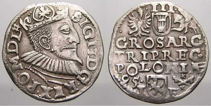3 Gröscher 1 1595 Polen Sigismund III. 1587-1632. Selten. Sehr schön+