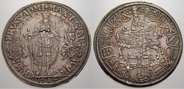 Doppeltaler 1614 Deutscher Orden Maximilian von Österreich 1590-1618. Schrötlingsfehler, gutes sehr schön