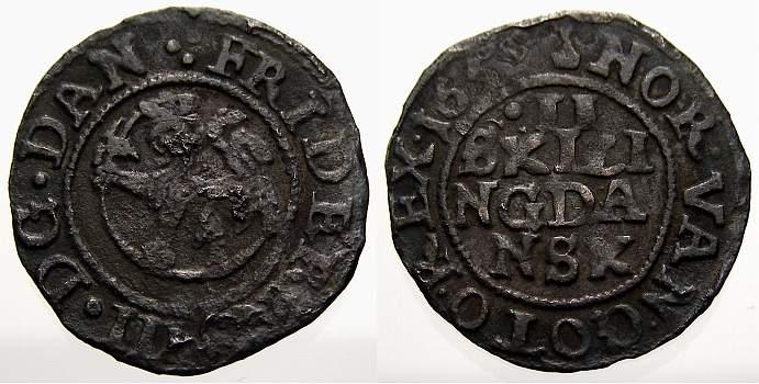 2 Skilling 1655 Norwegen Friedrich III. 1648-1670. Fast sehr schön