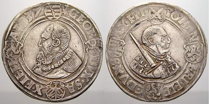 Taler 1537 Sachsen-Kurfürstentum Johann Friedrich und Georg 1534-1539. Kl. Prägeschwäche in der Umschrift. Sehr gut ausgeprägte Gesichter. Se