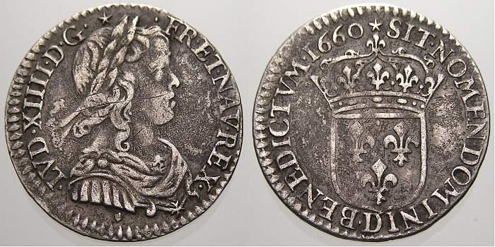 1/12 Ecu au buste juvenile, 1er type 1660 D Frankreich Ludwig XIV. 1643-1715. Sehr schön+
