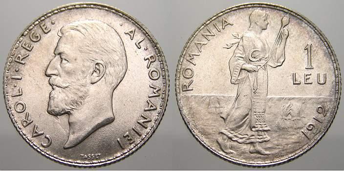 Leu 1912 Rumänien Carl I. 1866-1914. Stempelglanz