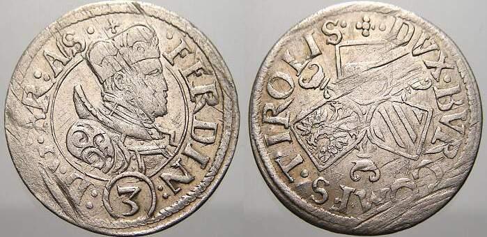 3 Kreuzer (Groschen) 1564-1595 Haus Habsburg Erzherzog Ferdinand II. 1564-1595. Kl. Schrötlingsfehler, sehr schön-vorzüglich mit Prägeglanz