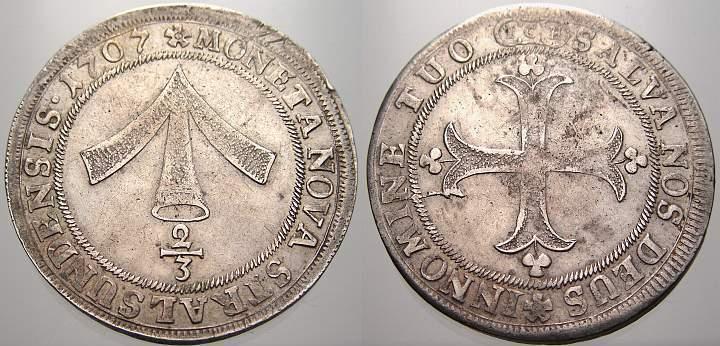 2/3 Taler 1707 Pommern-Stralsund, Stadt Stadt 1510-2100. Selten, sehr schön+
