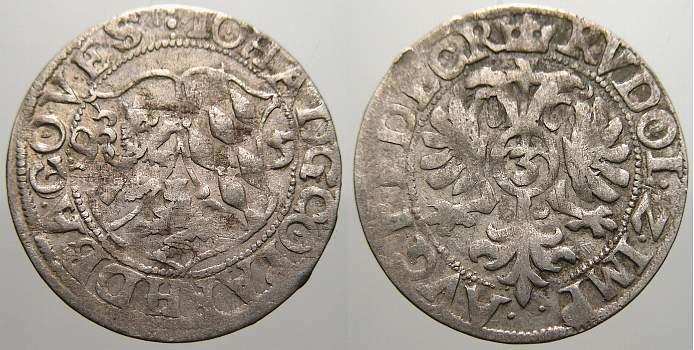 3 Kreuzer (Groschen) 1595 Pfalz-Zweibrücken Johann I. 1569-1604. Sehr schön