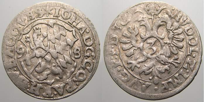 3 Kreuzer (Groschen) 1598 Pfalz-Zweibrücken Johann I. 1569-1604. Sehr schön