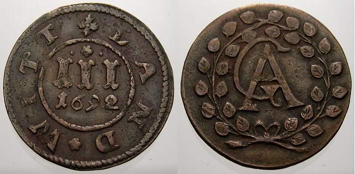 Cu 3 Pfennig 1692 Mecklenburg-Güstrow Gustav Adolf 1636-1695. Sehr schön+