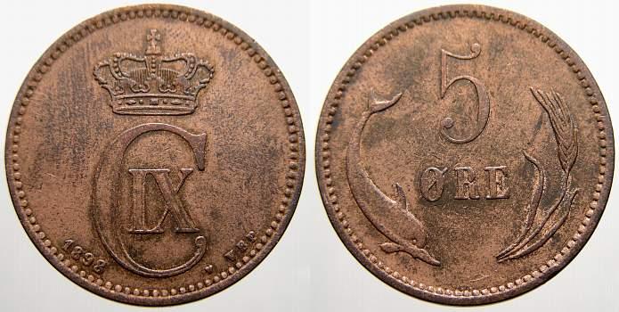 Cu 5 Ore 1898 Dänemark Christian IX. 1863-1906. Sehr schön+