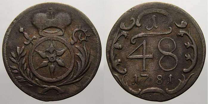 1/48 Taler 1781 E Mainz, Erzbistum Friedrich Karl Joseph 1774-1802. Sehr schön-vorzüglich