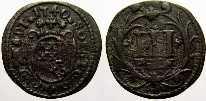 Cu 3 Pfennig 1740 Soest, Stadt Sehr schön
