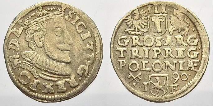 3 Gröscher 1 1590 IF Polen Sigismund III. 1587-1632. Sehr schön+