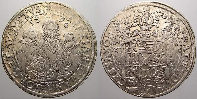 Taler 1594 HB Sachsen-Albertinische Linie Christian II. und seine Brüder unter Vormundschaft 1591-1602. Sehr schön+ mit Prägeglanz!