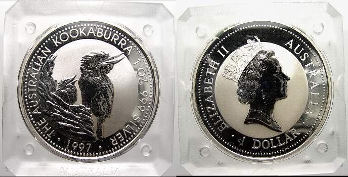 1 Dollar (Kookaburra) 1997 Australien Elizabeth II. seit 1952. Stempelglanz