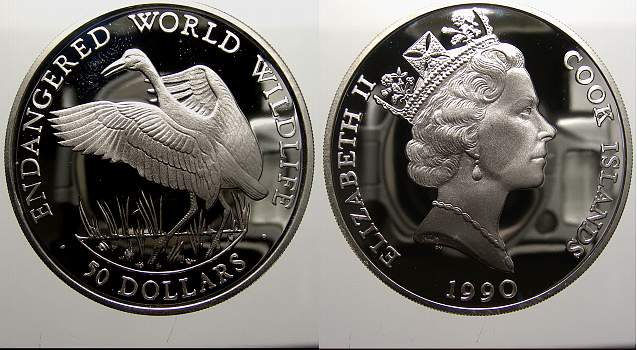 50 Dollars 1990 Cook-Inseln Elizabeth II. seit 1952. Polierte Platte
