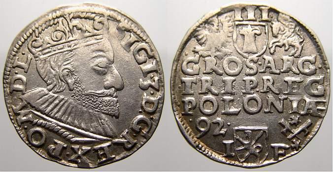 3 Gröscher 1 1592 IF Polen Sigismund III. 1587-1632. Vorzüglich mit Prägeglanz!