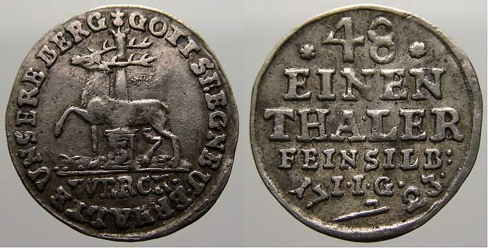 1/48 Taler (Halber Groschen) 1723 Stolberg-Stolberg Christoph Friedrich und Jost Christian 1704-1738. Sehr schön