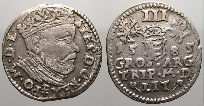 3 Gröscher 1 1585 Polen-Litauen Stefan Bathory 1576-1586. Kl. Schrötlingsfehler am Rand. Sehr schön+