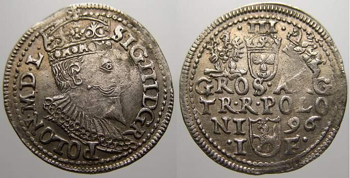 3 Gröscher 1 1596 IF Polen Sigismund III. 1587-1632. Min. Zainende. Vorzüglich