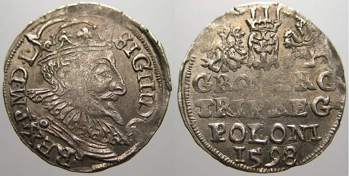 3 Gröscher 1 1598 Polen Sigismund III. 1587-1632. Selten. Kl. Prägeschwäche, vorzüglich mit Prägeglanz!