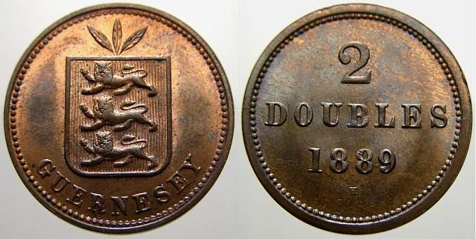 2 Doubles 1889 H Guernsey Guernsey 1800 bis Heute. Stempelglanz