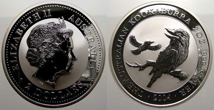 2 Dollars (Kookaburra) 2004 Australien Elizabeth II. seit 1952. Stempelglanz