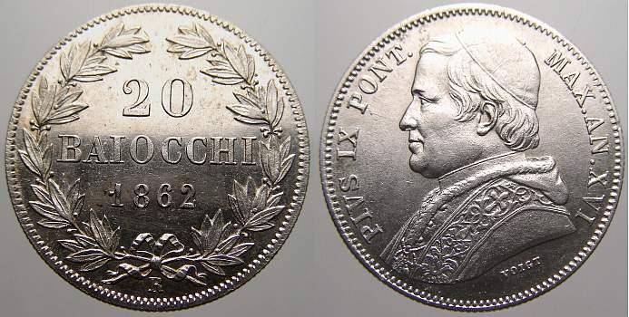 20 Baiocchi 1862 R Italien-Kirchenstaat Pius IX. 1846-1878. Vorzüglich+