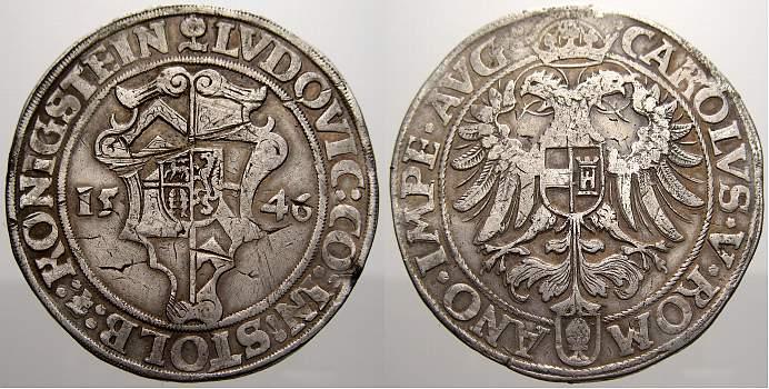 Taler 1546 Stolberg Ludwig II. allein 1535-1574. Kl. Schlagspur auf dem Wappen. Sehr schön