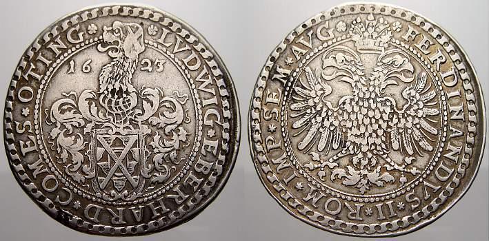 Taler 1623 Öttingen Ludwig Eberhard 1622-1634. Min. Schrötlingsfehler. Sehr schön+