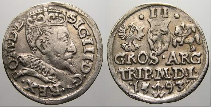 3 Gröscher 1 1593 Polen-Litauen Sigismund III. 1587-1632. Sehr schön+