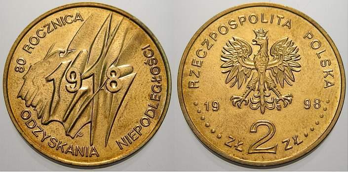 2 Zlote 1918 Polen-Republik 1990 bis Heute Republik Polen seit 1990. Unzirkuliert