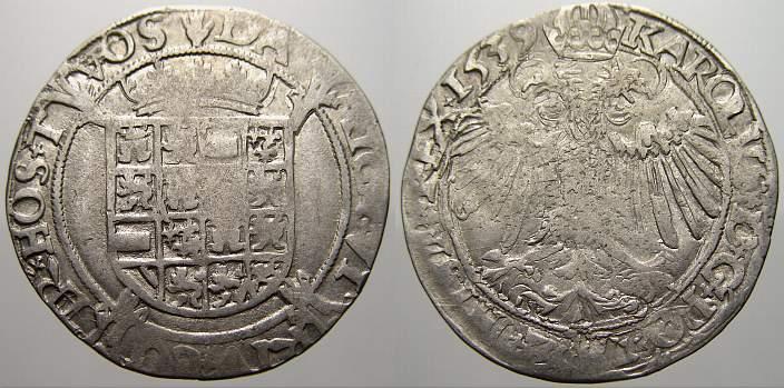 1539 Belgien-Brabant Karl V. 1506-1555. Übl. Prägeschwäche, sehr schön