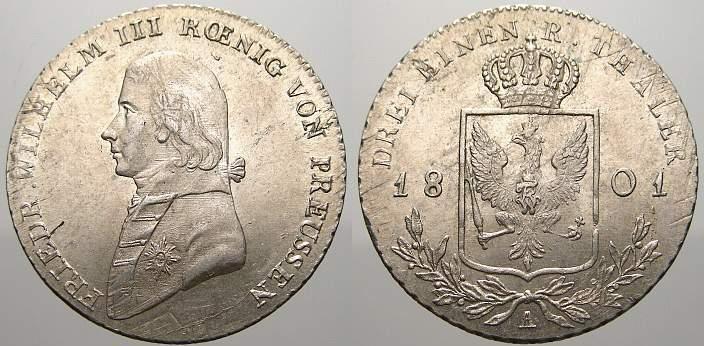 1/3 Taler 1801 A Brandenburg-Preußen Friedrich Wilhelm III. 1797-1840. Min. justiert. Fast stempelglanz