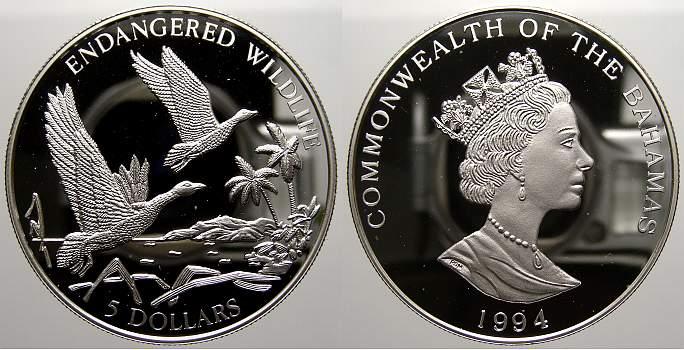 5 Dollars 1994 Bahamas Bund der Bahamas seit 1973. Polierte Platte