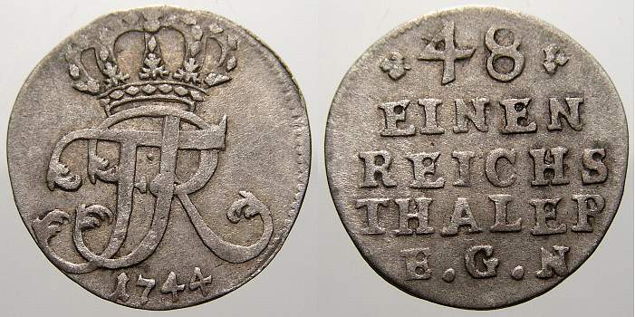 1/48 Taler 1744 Brandenburg-Preußen Friedrich II. 1740-1786. Sehr schön+